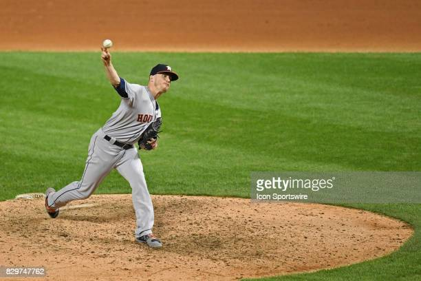 Houston Astros relief pitcher Ken Giles pitches during a game between the Houston Astros and the Chicago White Sox on August 9 at Guaranteed Rate...