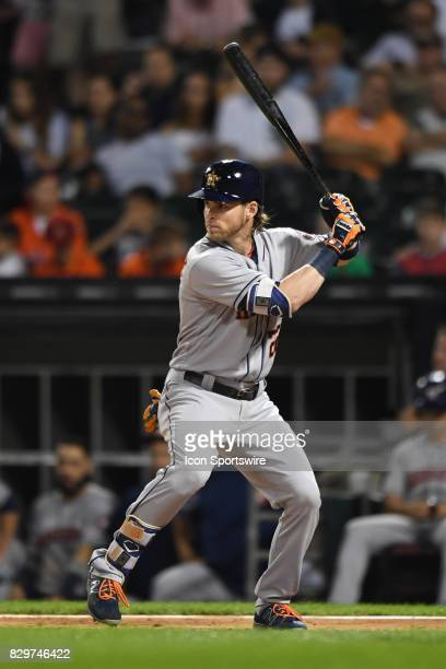 Houston Astros right fielder Josh Reddick at bat during a game between the Houston Astros and the Chicago White Sox on August 9 at Guaranteed Rate...