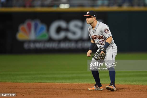 Houston Astros second baseman Jose Altuve in action during a game between the Houston Astros and the Chicago White Sox on August 9 at Guaranteed Rate...