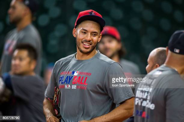 Houston Astros shortstop Carlos Correa by the batting cages during batting practice prior to a MLB baseball game between the Houston Astros and the...