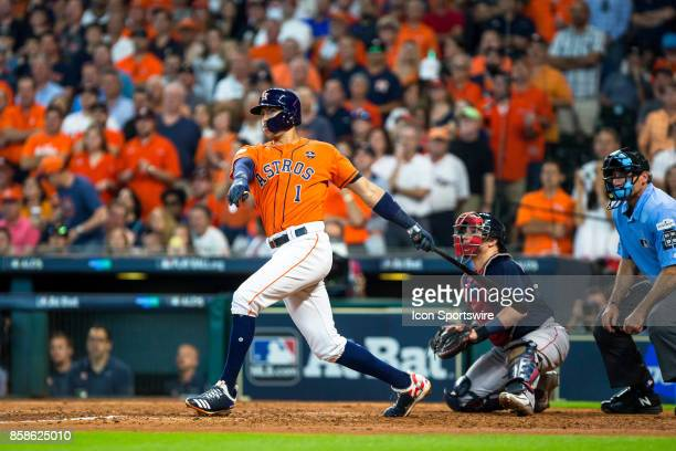 Houston Astros shortstop Carlos Correa reacts on a double in a line drive in the sixth inning during game two of American Division League Series...