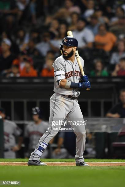 Houston Astros shortstop Marwin Gonzalez at bat during a game between the Houston Astros and the Chicago White Sox on August 9 at Guaranteed Rate...