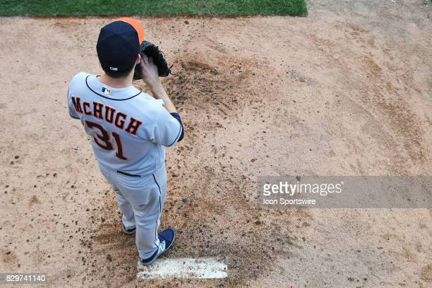Houston Astros starting pitcher Collin McHugh warms up in the bull pen prior to a game between the Houston Astros and the Chicago White Sox on August...