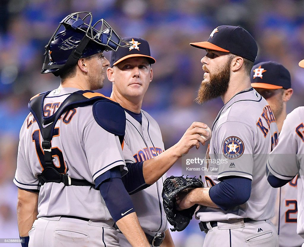 Houston Astros starting pitcher Dallas Keuchel is relieved in the eighth inning by manager A.J. Hinch against the Kansas City Royals on Friday, June 24, 2016, at Kauffman Stadium in Kansas City, Mo.