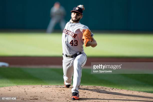 Houston Astros Starting pitcher Lance McCullers delivers a pitch to the plate during the first inning of the Major League Baseball game between the...