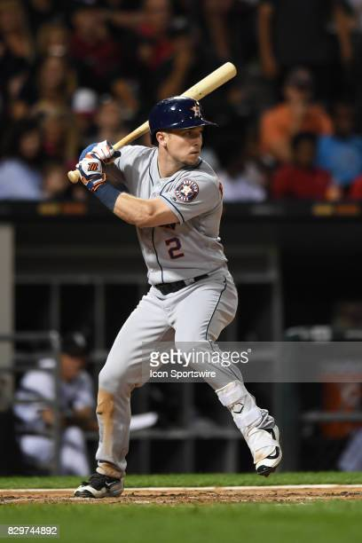 Houston Astros third baseman Alex Bregman at bat during a game between the Houston Astros and the Chicago White Sox on August 9 at Guaranteed Rate...