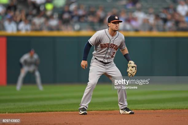 Houston Astros third baseman Alex Bregman in action during a game between the Houston Astros and the Chicago White Sox on August 9 at Guaranteed Rate...