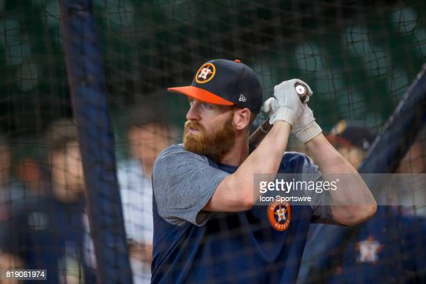 Houston Astros third baseman Colin Moran inside the batting cage shows during Houston Astros batting practice prior to a MLB baseball game between...