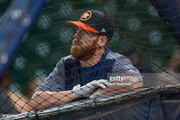 Houston Astros third baseman Colin Moran looks on from outside the batting cage shows during Houston Astros batting practice prior to a MLB baseball...