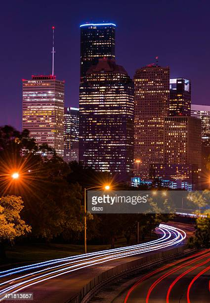 Houston cityscape at night with traffic