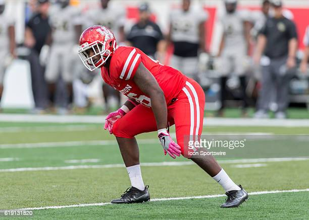 Houston Cougars cornerback Brandon Wilson prepares for a play during the NCAA football game between the Central Florida Knights and Houston Cougars...