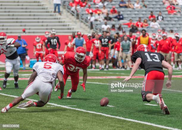 Houston Cougars cornerback Patrick Rosette recovers the ball during the University of Houston Spring football game on April 15 2017 at TDECU Stadium...