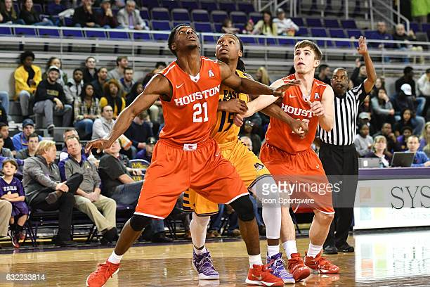 Houston Cougars guard Damyean Dotson and Houston Cougars guard Wes VanBeck box out East Carolina Pirates guard Kentrell Barkley in an American...