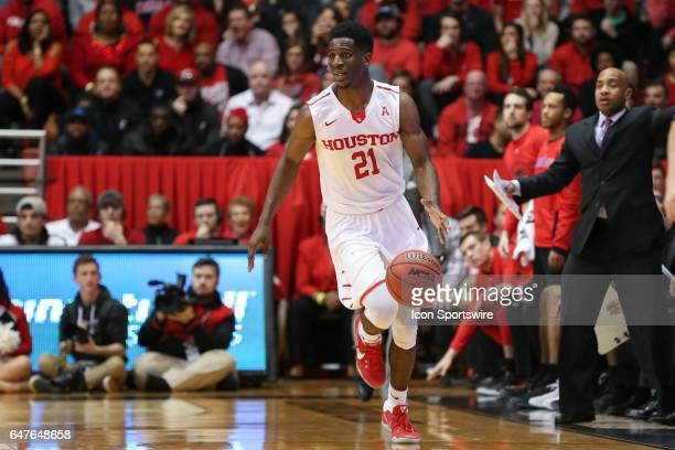 Houston Cougars guard Damyean Dotson controls the ball during the game against the Houston Cougars and the Cincinnati Bearcats on March 2nd 2017 at...