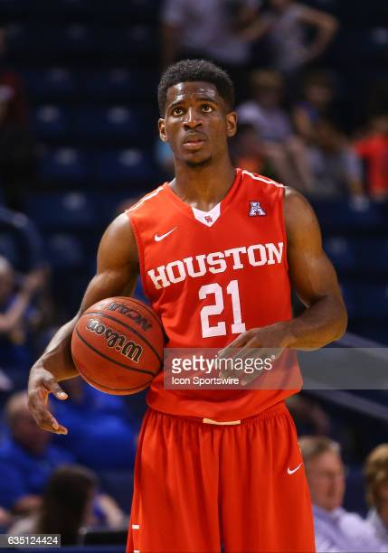 Houston Cougars Guard Damyean Dotson holds the ball as the clock hits zero during the AAC Mens basketball game between the Houston Cougars and the...