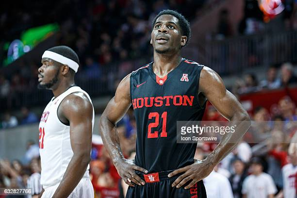 Houston Cougars guard Damyean Dotson looks on during the American Athletic Conference college basketball game between the SMU Mustangs and the...