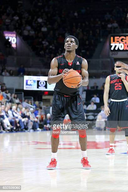 Houston Cougars guard Damyean Dotson shoots a free throw during the NCAA men's basketball game between the SMU Mustangs and Houston Cougars on...