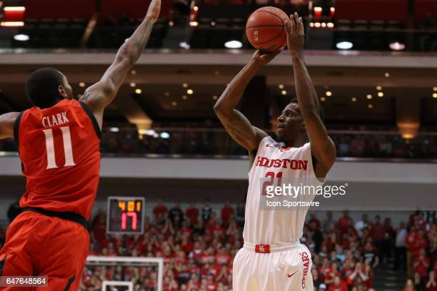 Houston Cougars guard Damyean Dotson shoots the ball during the game against the Houston Cougars and the Cincinnati Bearcats on March 2nd 2017 at...