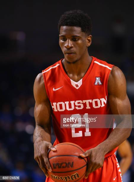 Houston Cougars Guard Damyean Dotson shows great concentration during a late game free throw attempt during the AAC Mens basketball game between the...