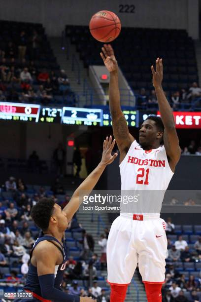 Houston Cougars guard Damyean Dotson takes a jump shot during the first half of the American Athletic Conference quarterfinal game between UConn...