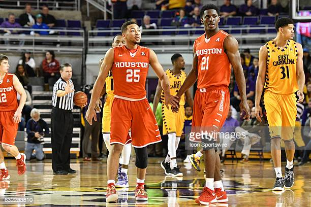 Houston Cougars guard Galen Robinson Jr and Houston Cougars guard Damyean Dotson walk to the bench during a timeout in an American Athletic...