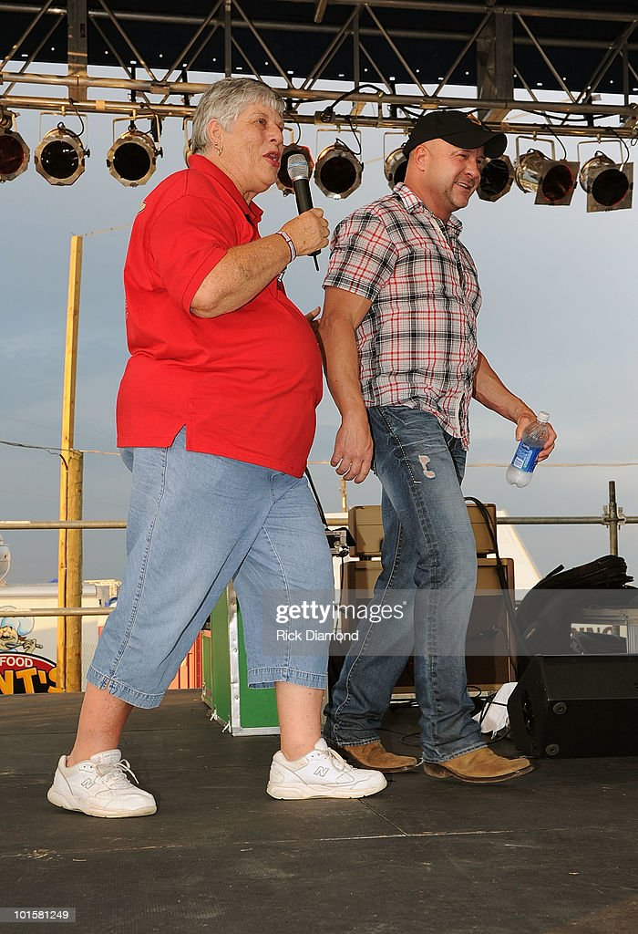 Houston County Democratic Chairwoman Jennifer Adams and Producer of BamaJam Ronnie Gilley attending a VIP welcome event prior to the 2010 BamaJam Music & Arts Festival at the Corner of Hwy 167 and County Road 156 on June 2, 2010 in Enterprise, Alabama.