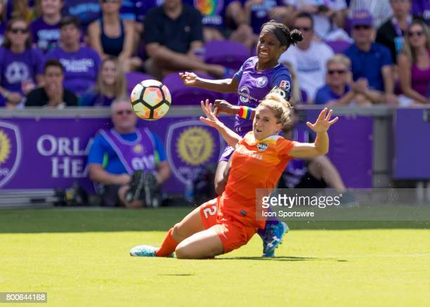 Houston Dash defender Camille Levin blocks Orlando Pride forward Jasmyne Spencer during the NWSL soccer match between the Orlando Pride and the...