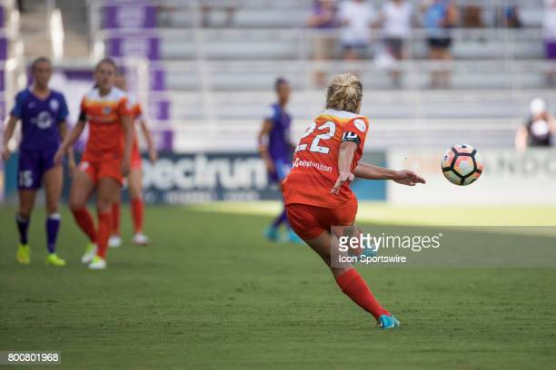 Houston Dash defender Camille Levin kicks the ball during the NWSL soccer match between the Houston Dash and Orlando Pride on June 24 2017 at Orlando...