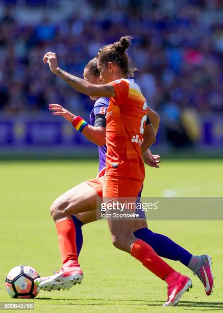 Houston Dash defender Poliana Barbosa Medeiros clears the ball during the NWSL soccer match between the Orlando Pride and the Houston Dash on June 24...
