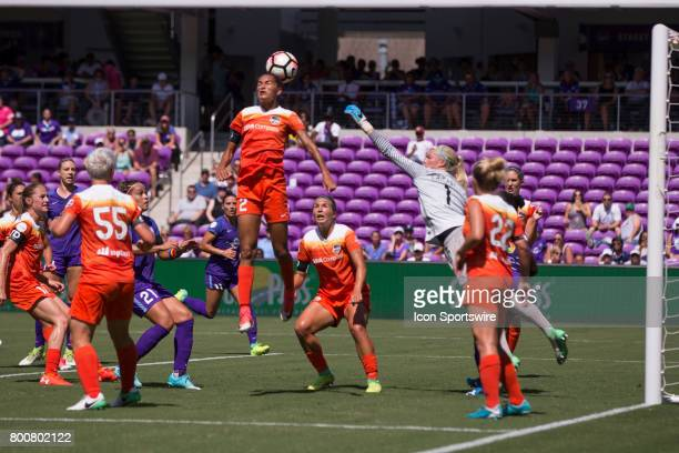 Houston Dash defender Poliana Barbosa Medeiros goes up for a header during the NWSL soccer match between the Houston Dash and Orlando Pride on June...