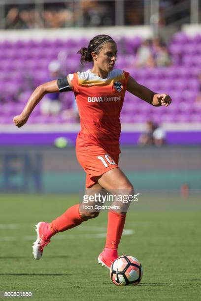 Houston Dash forward Carli Lloyd brings the ball down field during the NWSL soccer match between the Houston Dash and Orlando Pride on June 24 2017...