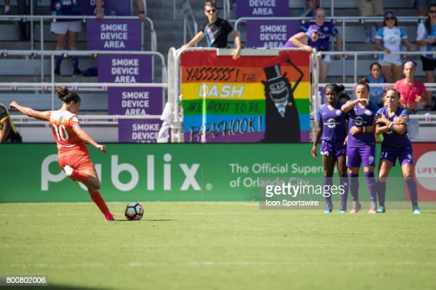 Houston Dash forward Carli Lloyd takes a shot on goal during the NWSL soccer match between the Houston Dash and Orlando Pride on June 24 2017 at...