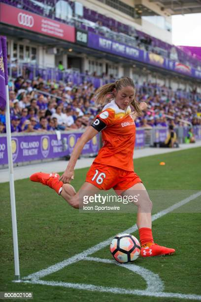 Houston Dash forward Janine Beckie takes a corner kick during the NWSL soccer match between the Houston Dash and Orlando Pride on June 24 2017 at...
