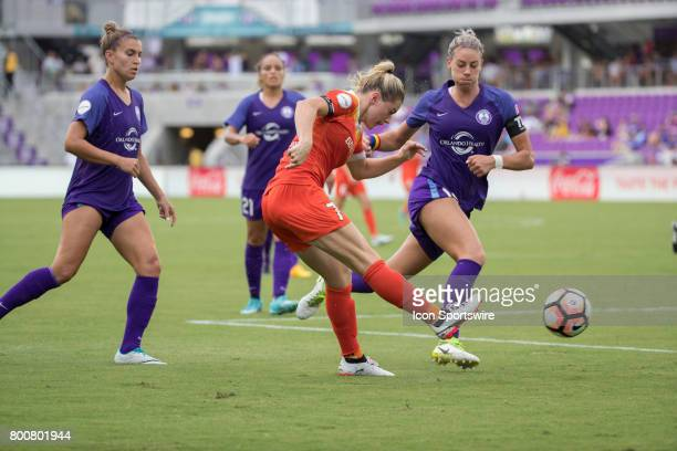 Houston Dash forward Kealia Ohai kicks the ball during the NWSL soccer match between the Houston Dash and Orlando Pride on June 24 2017 at Orlando...