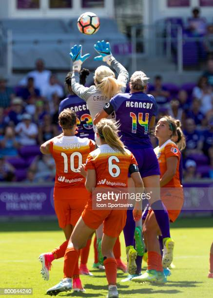 Houston Dash goalie Jane Campbell grabs the corner kick during the NWSL soccer match between the Orlando Pride and the Houston Dash on June 24 2017...
