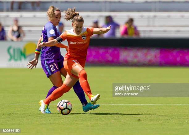 Houston Dash midfielder Andressa Cavalari Machry clears the ball during the NWSL soccer match between the Orlando Pride and the Houston Dash on June...