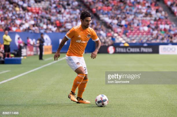 Houston Dynamo defender A J DeLaGarza runs with the ball during their match against the Vancouver Whitecaps at BC Place on August 19 2017 in...