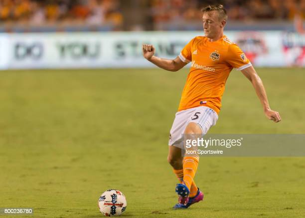 Houston Dynamo defender Dylan Remick taps the ball during the MLS match between Dallas FC and Houston Dynamo on June 23 2017 at BBVA Compass Stadium...