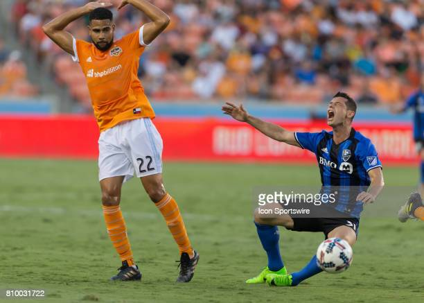Houston Dynamo defender Leonardo leaps away from Montreal Impact midfielder Blerim Dzemaili during the MLS match between the Montreal Impact and...