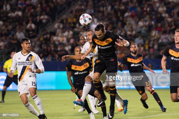 Houston Dynamo forward Erick Torres defends on a corner kick during the game between the LA Galaxy and the Houston Dynamo on June 17 at StubHub...