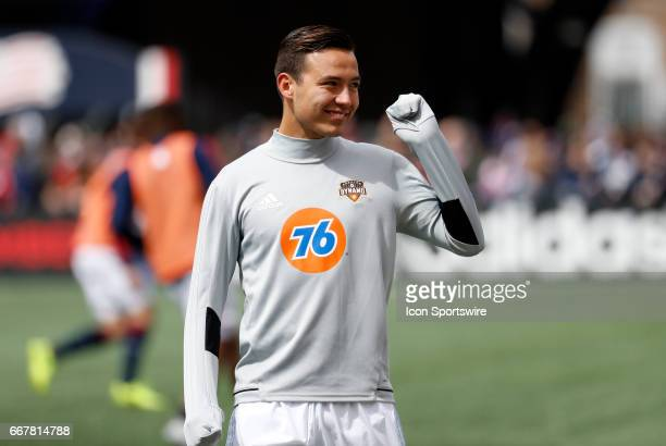 Houston Dynamo forward Erick Torres gives a fist pump to the crowd before a regular season MLS match between the New England Revolution and the...