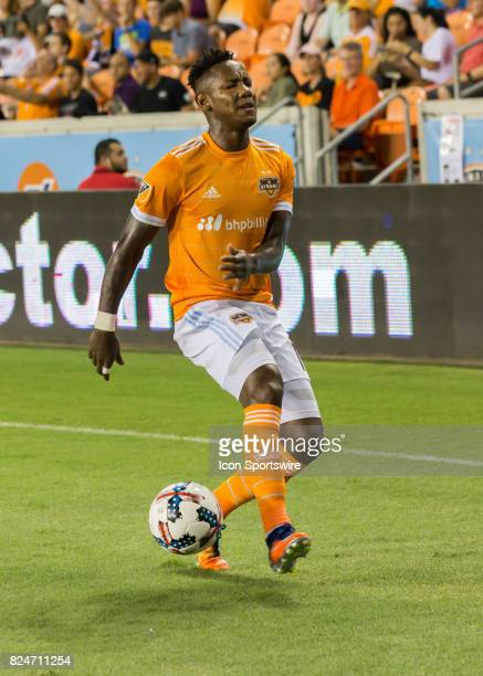 Houston Dynamo forward Romell Quioto reacts after going offsides during the MLS match between the Portland Timbers and Houston Dynamo on July 29 2017...