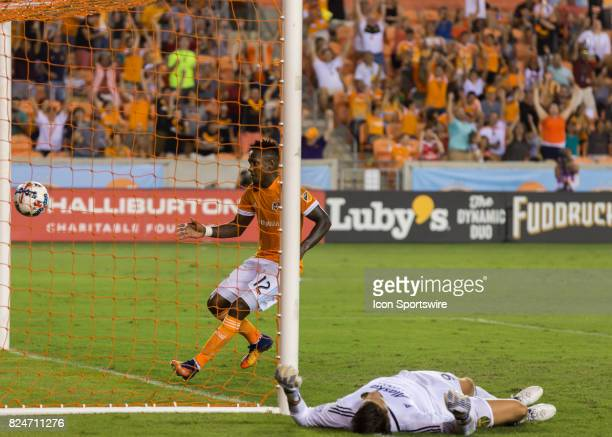 Houston Dynamo forward Romell Quioto runs into the goal to retrieve the ball during the MLS match between the Portland Timbers and Houston Dynamo on...