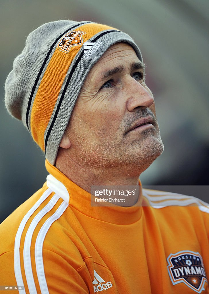 Houston Dynamo head coach Dominic Kinnear looks on during the first half of their game against the Chicago Fire in the Carolina Challenge Cup at Blackbaud Stadium on February 16, 2013 in Charleston, South Carolina.