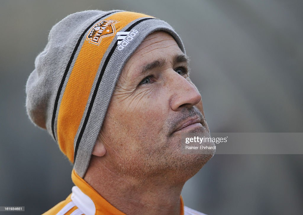 Houston Dynamo head coach Dominic Kinnear looks on during the first half of their game against the Chicago Fire at Blackbaud Stadium on February 16, 2013 in Charleston, South Carolina.