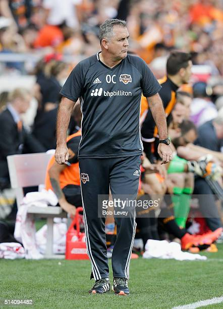 Houston Dynamo head coach Owen Coyle leaves the pitch after the game at BBVA Compass Stadium on March 6 2016 in Houston Texas