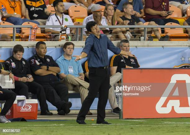 Houston Dynamo head coach Wilmer Cabrera complains to the referee during the MLS match between Dallas FC and Houston Dynamo on June 23 2017 at BBVA...