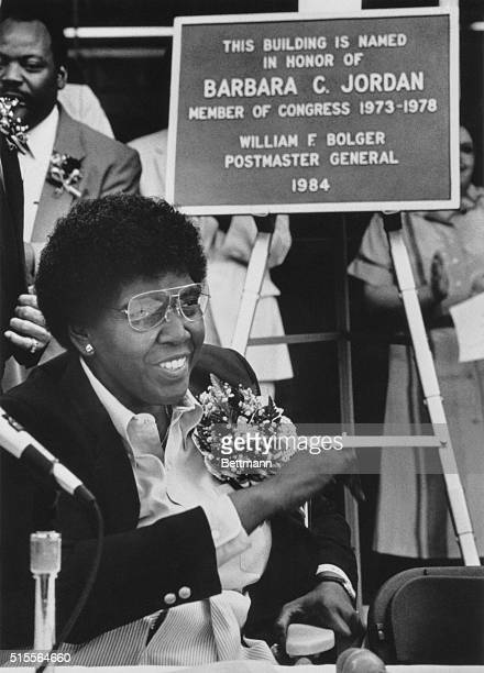 Former Texas Congresswoman Barbara Jordan smiles during August 27 ceremonies dedicating the Houston post office in her name Napoleon had a pastry and...
