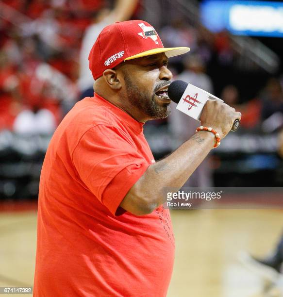 Houston rap artist Bun B performs before Game Five of the Western Conference Quarterfinals game of the 2017 NBA Playoffs at Toyota Center on April 25...