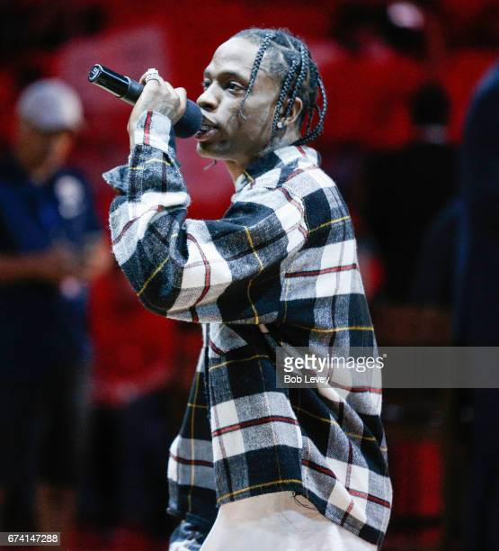 Houston rap artist Travis Scott performs before Game Five of the Western Conference Quarterfinals game of the 2017 NBA Playoffs at Toyota Center on...